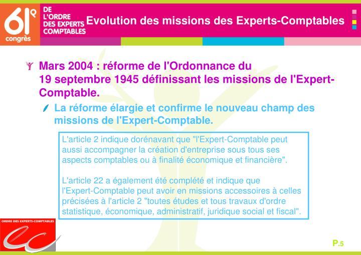 Evolution des missions des Experts-Comptables