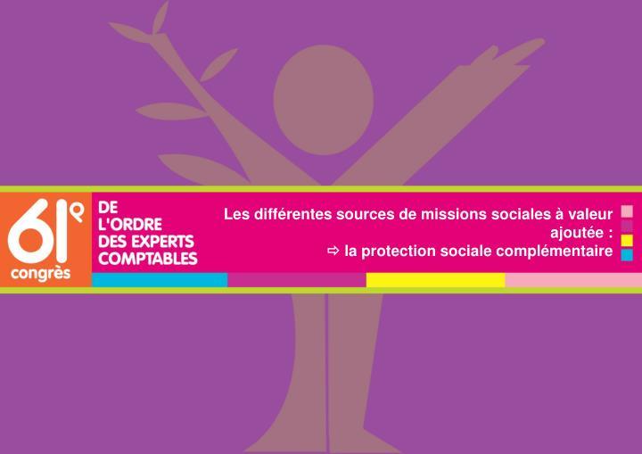 Les différentes sources de missions sociales à valeur ajoutée :