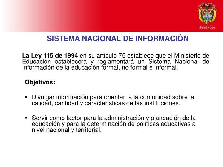 SISTEMA NACIONAL DE INFORMACIÓN
