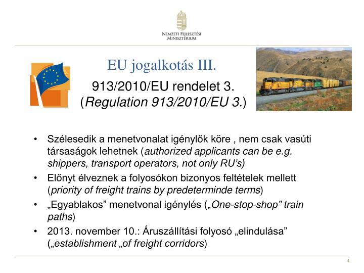 EU jogalkotás III.