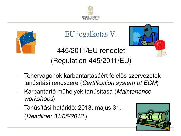 EU jogalkotás V.