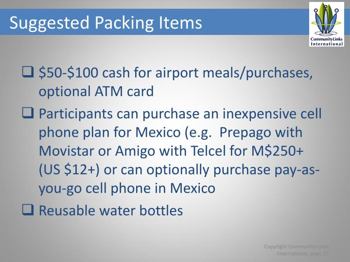 Suggested Packing Items