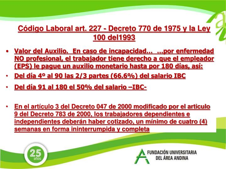 Código Laboral art. 227 -
