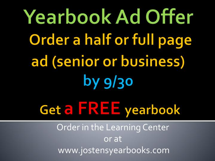 Yearbook Ad Offer