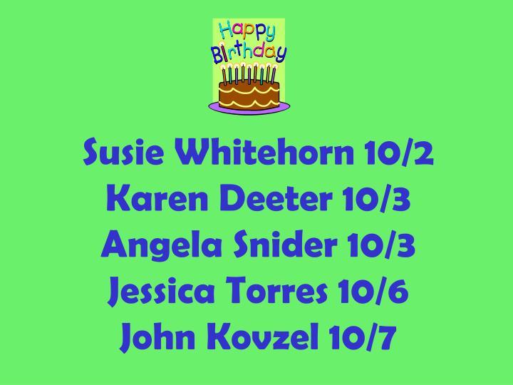 Susie Whitehorn 10/2