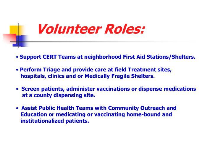 Volunteer Roles:
