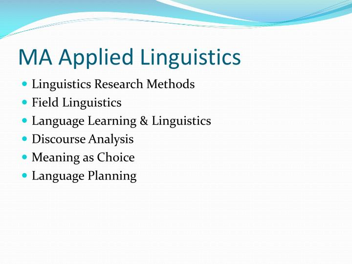 MA Applied Linguistics