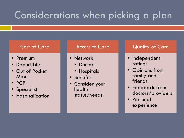 Considerations when picking a plan