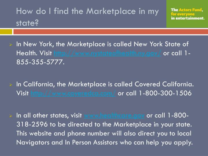 How do I find the Marketplace in my state?