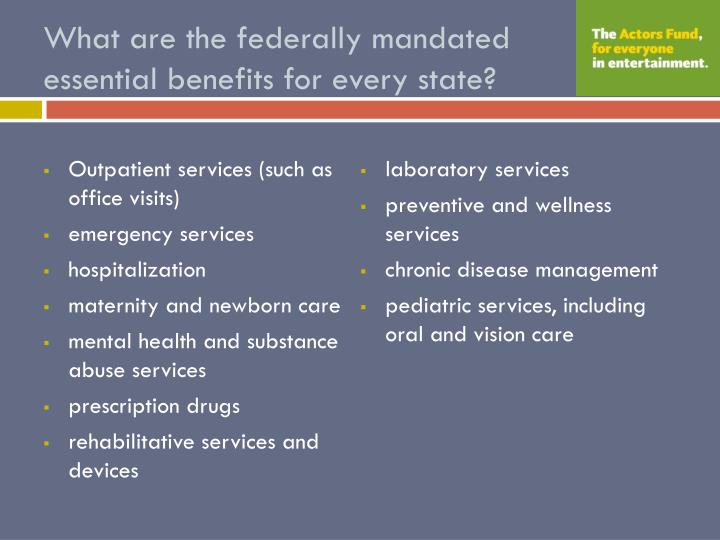 What are the federally mandated