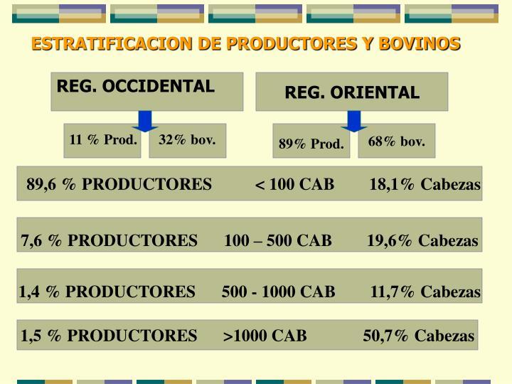 ESTRATIFICACION DE PRODUCTORES Y BOVINOS