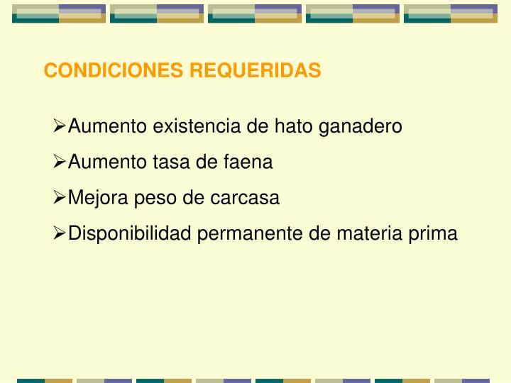 CONDICIONES REQUERIDAS
