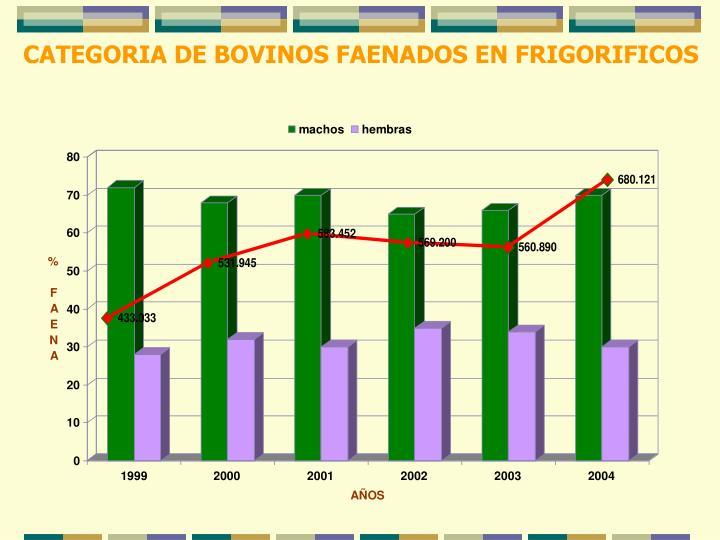 CATEGORIA DE BOVINOS FAENADOS EN FRIGORIFICOS