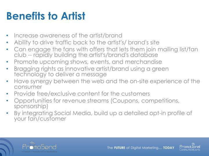 Benefits to Artist