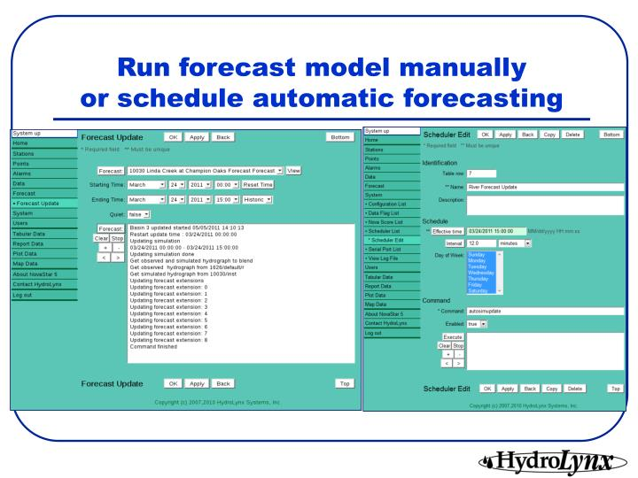 Run forecast model manually