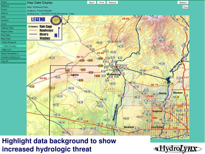Highlight data background to show increased hydrologic threat