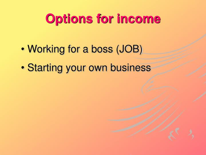 Options for income