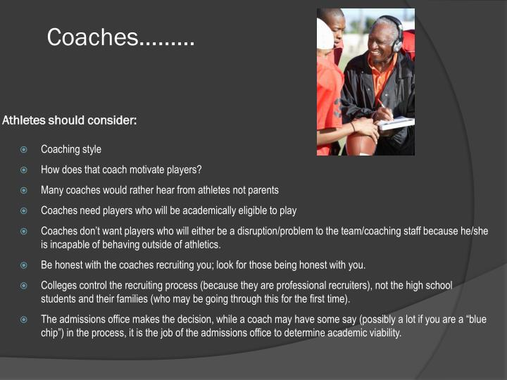 Coaches athletes should consider