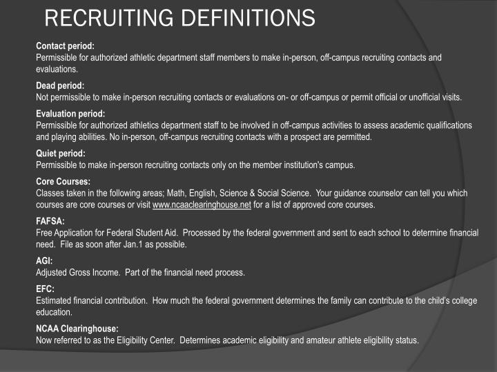 RECRUITING DEFINITIONS