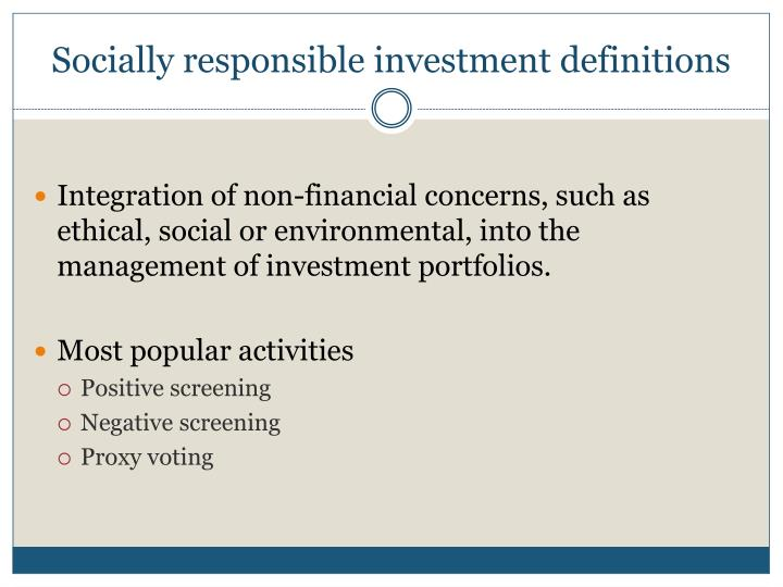 Socially responsible investment definitions