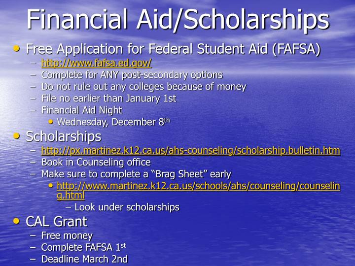 Financial aid scholarships