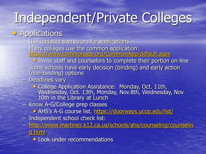 Independent/Private Colleges
