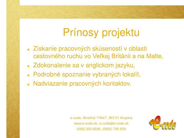 Prínosy projektu