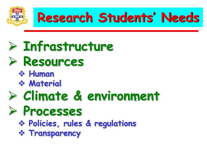 Research Students' Needs