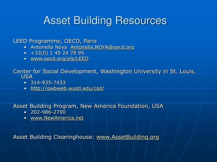 Asset Building Resources