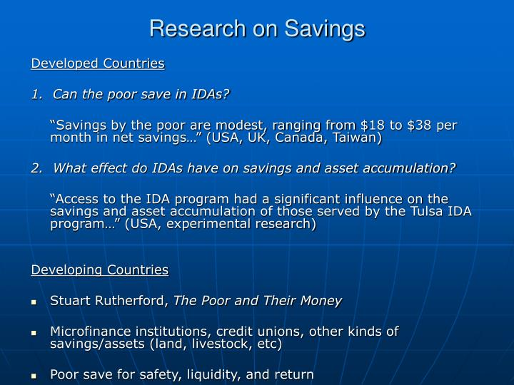 Research on Savings