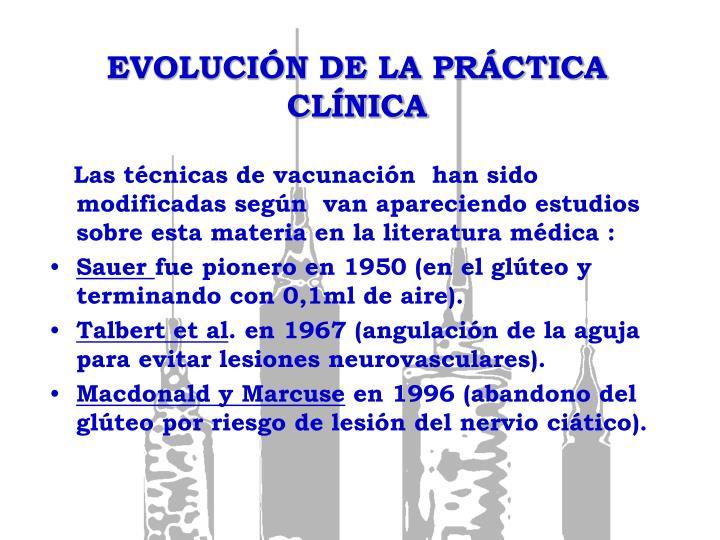 EVOLUCIÓN DE LA PRÁCTICA CLÍNICA