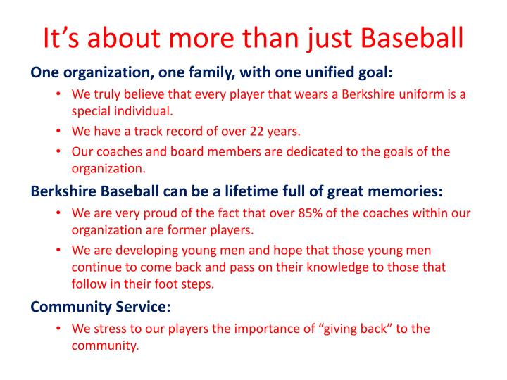 It's about more than just Baseball