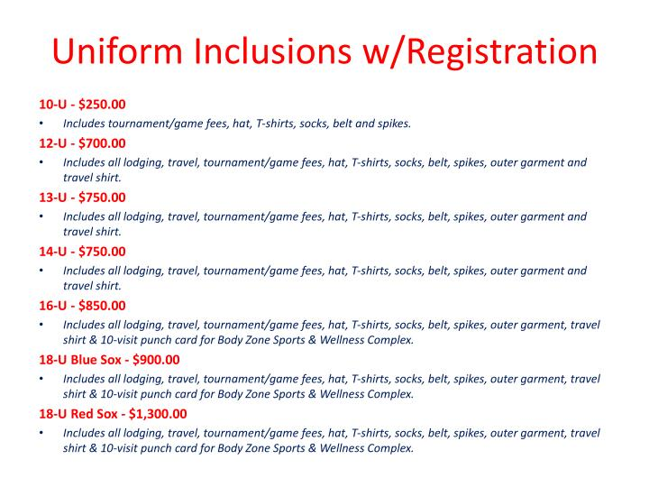Uniform Inclusions w/Registration