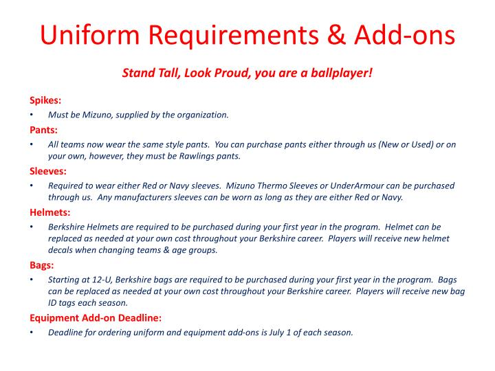 Uniform Requirements & Add-ons
