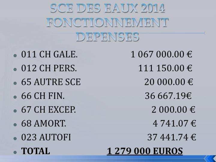 SCE DES EAUX 2014 FONCTIONNEMENT DEPENSES