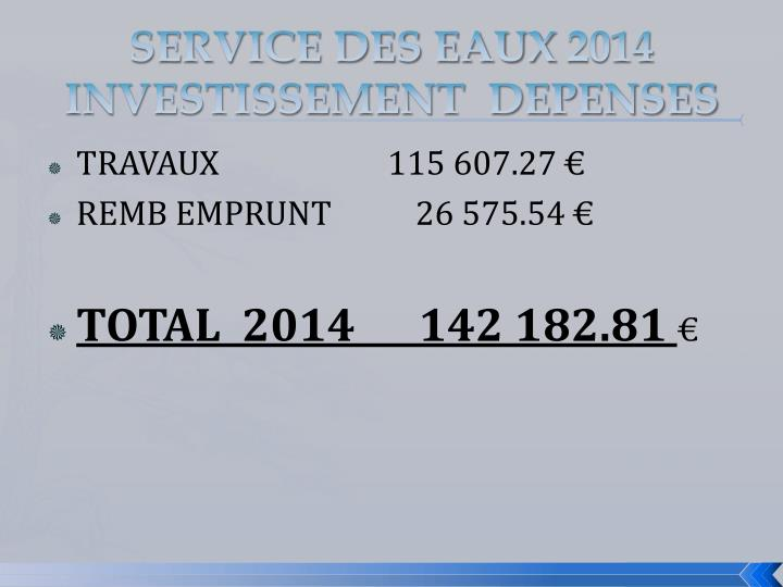 SERVICE DES EAUX 2014