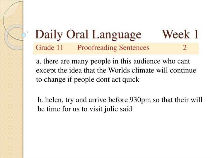 Daily oral language week 12