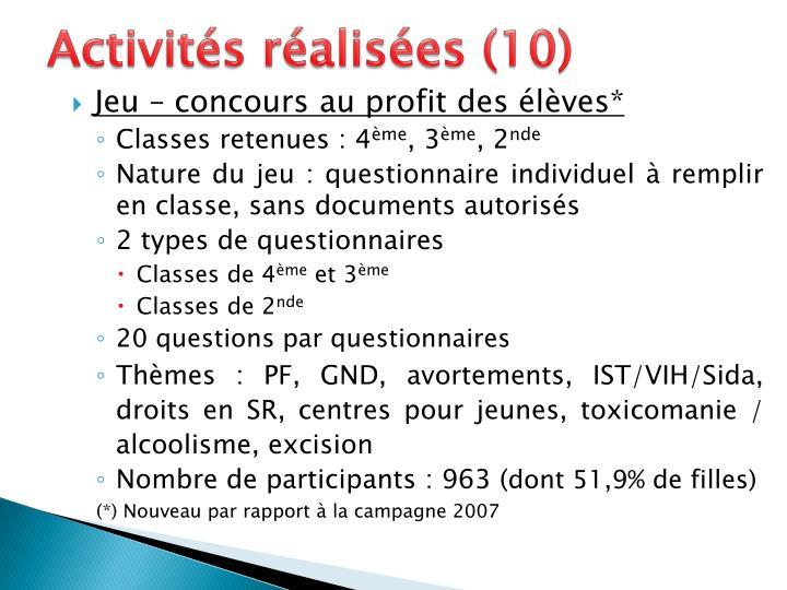 Activités réalisées (10)