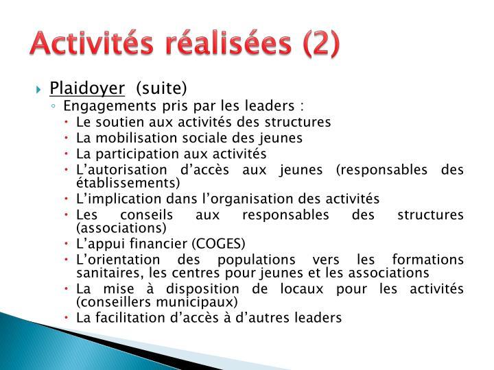 Activités réalisées (2)