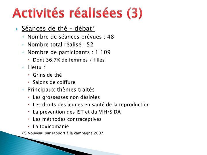 Activités réalisées (3)