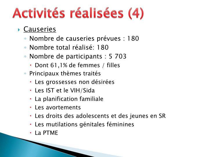 Activités réalisées (4)