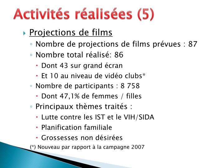 Activités réalisées (5)