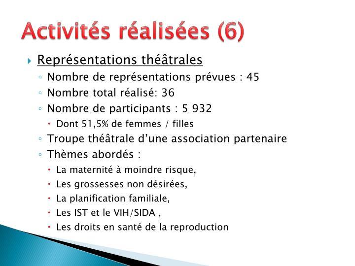 Activités réalisées (6)