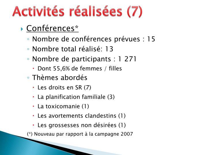 Activités réalisées (7)