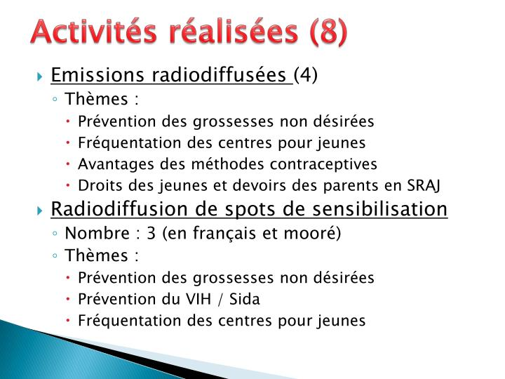 Activités réalisées (8)