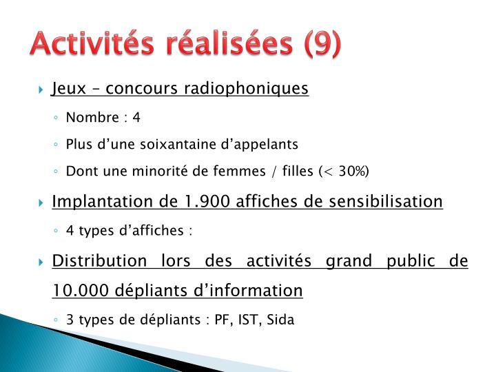 Activités réalisées (9)