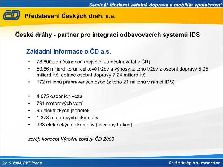 Představení Českých drah, a.s.