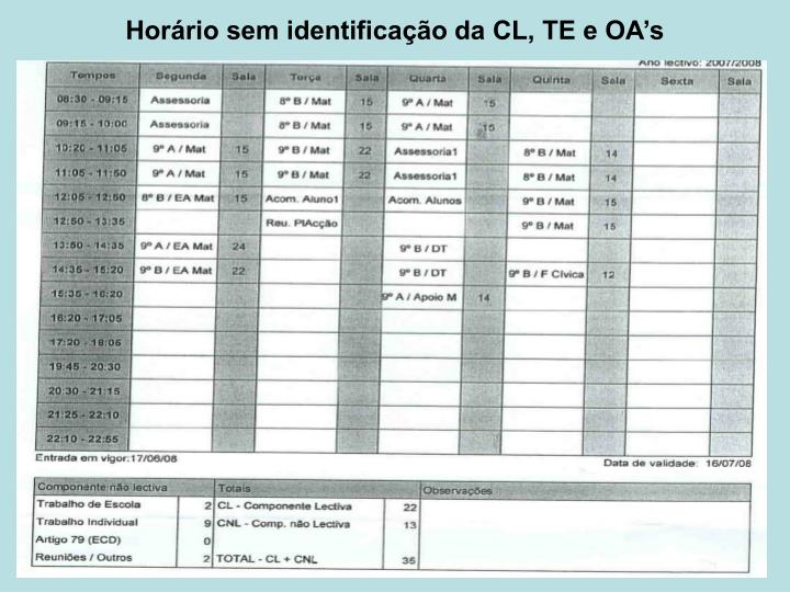 Horário sem identificação da CL, TE e OA's