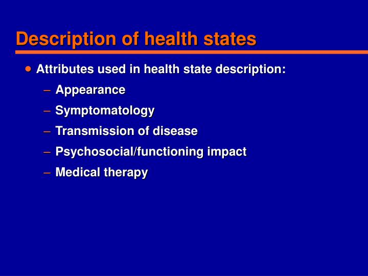 Description of health states