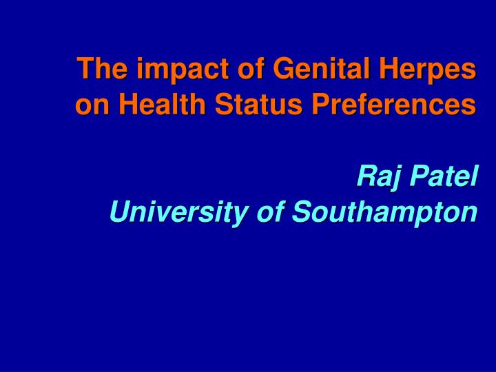 The impact of Genital Herpes on Health Status Preferences
